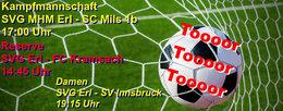 Kampfmannschaft trifft vor dem Kracher gegen Zell am Ziller auf SC Mils 1b, die Reserve fordert den Tabellenzweiten Kramsach heraus und die Damen empfangen die starken Ladies vom SV Innsbruck.